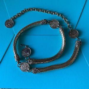 Vintage Gold mesh snake chain Napoleon coins Belt